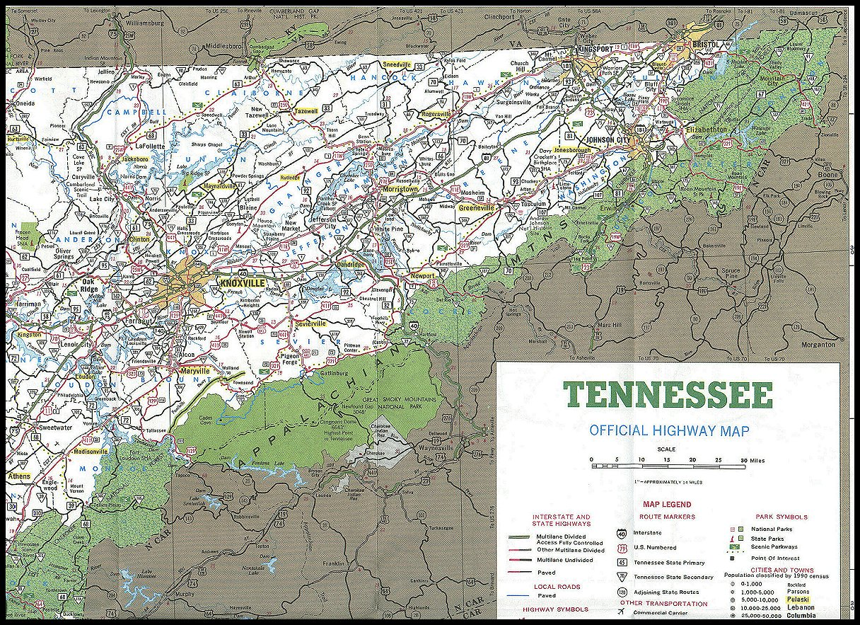 East TN Area Map - East tennessee map