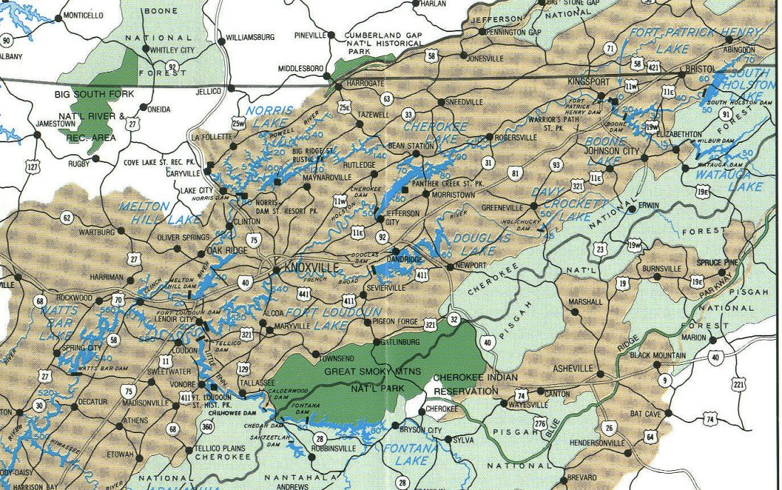Tennessee lakes map for Fishing lakes in tennessee